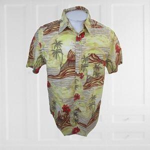 Old Navy Men Hawaiian ALOHA shirt L volcano retro